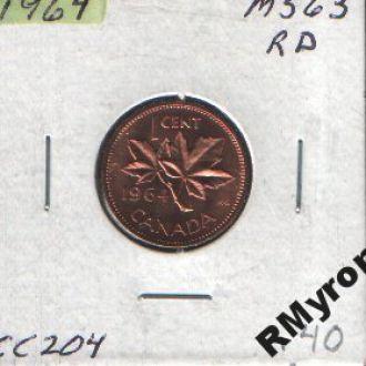Канада (1964) - 1 цент # 3 - СОСТОЯНИЕ!!!