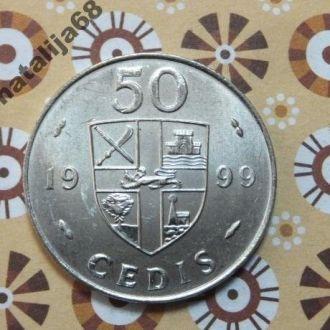 Гана 1999 год монета 50 седи !