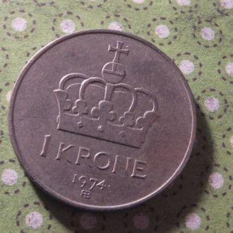 Норвегия монета 1 крона 1974 год !