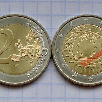Австрия 2 евро 30 лет флагу Европы 2015
