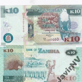 Zambia Замбия - 10 Kwacha 2012 aUNC JavirNV
