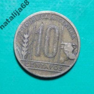 Аргентина 1944 год монета 10 сентаво !