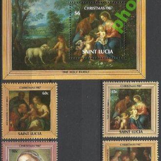 Сент Люсия 1987 живопись Рождество 4м.+бл.**