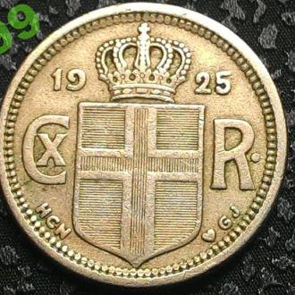 Исландия 25 эйре 1925 год, тираж 207 000 ВСТРЕЧАЕТСЯ НЕ ЧАСТО!!!