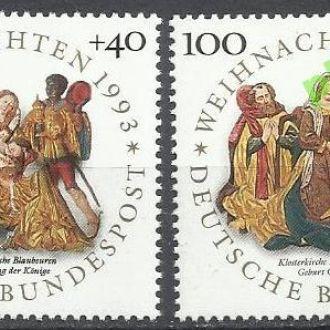 Германия 1993 Рождество живопись религия 2м.**