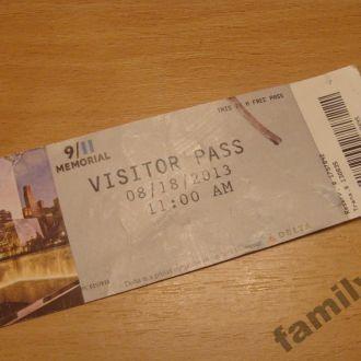 """Билет входной """"MEMORIAL 9  11""""    NY #3"""