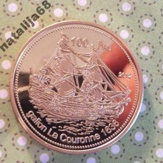 Бассас-да-Индия 2012 г монета 100 франков парусник !