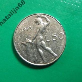 Италия 1993 год монета 50 лир !