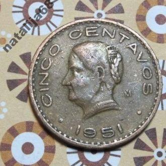 Мексика 1951 год монета 5 сентаво !