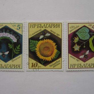 3 марки  Болгария  медоносные растения 1987