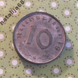Германия 1942 год монета 10 пфенингов G !