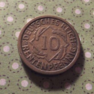 Германия монета 10 пфенингов J 1924 год !
