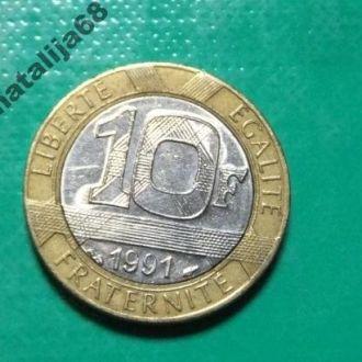 Франция 1991 год монета 10 франков биметалл !