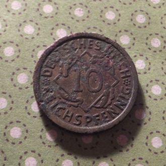 Германия 1924 год монета 10 пфенингов A !