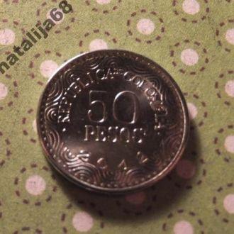 Колумбия 2012 год монета 50 песо !