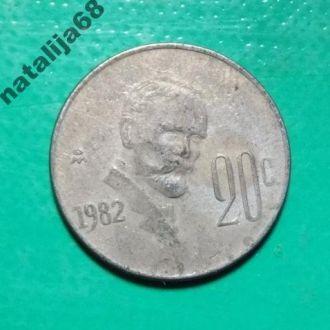 Мексика 1982 год монета 20 сентаво !