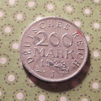 Германия монета 200 марок 1923 год J !