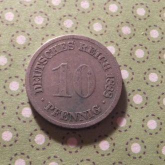 Германия монета 10 пфенингов 1888 год D !