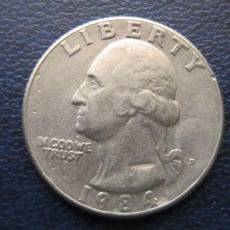 25 центов квотер США 1984 D