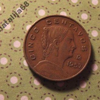 Мексика монета 5 сентаво 1957 год !