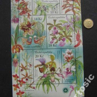 м/лист Чехия 2012 цветы орхидеи MNH
