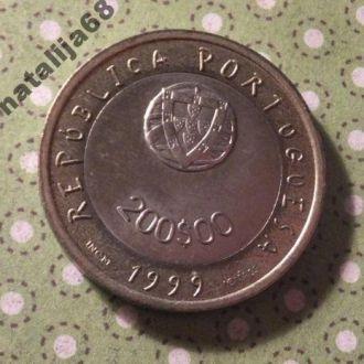 Португалия 1999 год монета 200 эскудо биметалл !