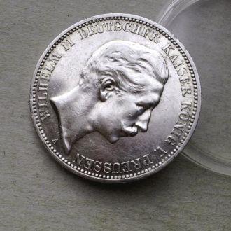 Германия Пруссия 3 марки 1910 серебро Unc штемпель