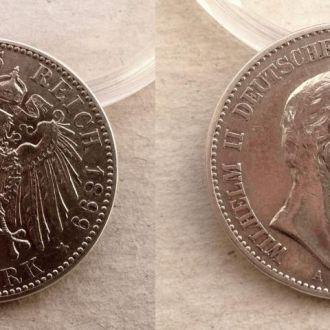 Германия Пруссия 2 марки 1899 серебро Ag СОХРАН !!