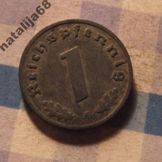 Германия монета 1 пфенинг 1940 год F !