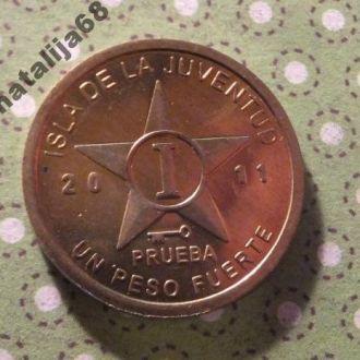 Хувентуд остров 2011 год монета 1 песо Куба !