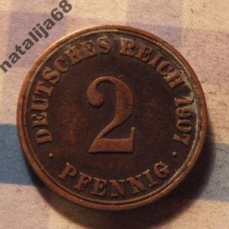 Германия монета 2 пфенинга 1907 год A !