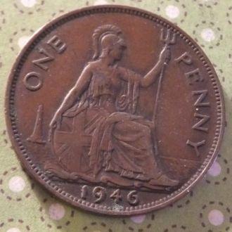 Великобритания 1946 год монета 1 пенни !