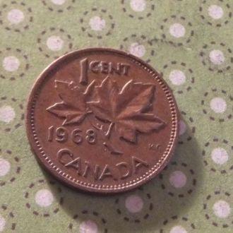 Канада 1968 год монета 1 цент !