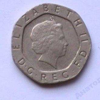 20 Пенсов 1999 г Великобритания 20 Пенсів 1999 р