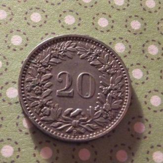 Швейцария 1919 год монета 20 рапенов !