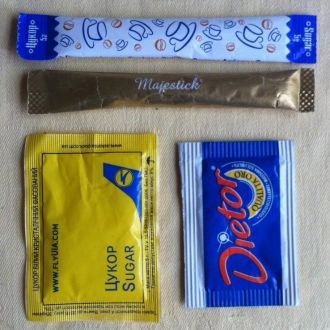 4 пакетика с сахаром для коллекционеров