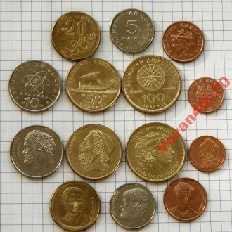 ГРЕЦИЯ -  набор доевровых монет 7 сет