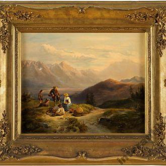 старая картина оригинал холст масло Горный пейзаж