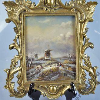 картина Зима Голландия масло дерево рама пейзаж