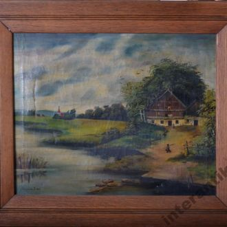 старая картина масло холст пейзаж Есипович Е. 1925
