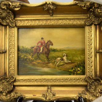 Англия картина охота собака масло дерево рама