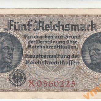 ГЕРМАНИЯ 5 рейхсмарок 1940-1945 год № 7-значный с КОНГРЕВом UNC