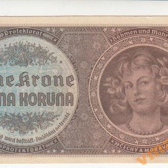 Богемия и Моравия 1 крона 1940 год СОСТОЯНИЕ