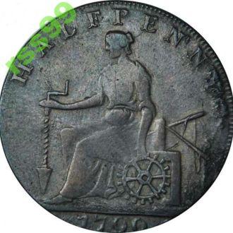 АНГЛИЯ, SHAKFSPEARE 1/2 пенни 1790г.