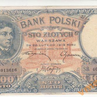 Польша 100 злотых 1919 год