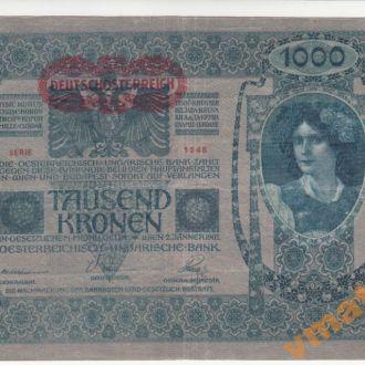 АВСТРИЯ 1000 крон 1902 (1919) г 1 тип венгер текст