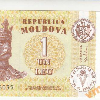Молдова 1 лей 2010 год UNC