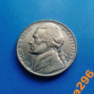 США 1983 год монета 5 центов (P)