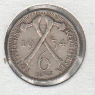 Родезия  6 пенсов1934 г серебро
