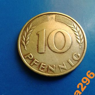Германия 1950 год монета 10 пфенингов (F)